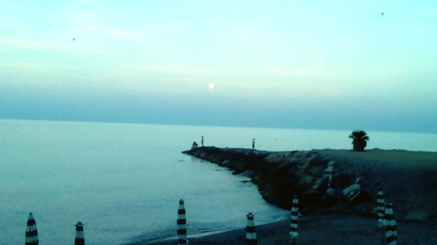Sea Molo Horizon Over Water Blue Wave Moon Dusk Sky Liguria,Italy Peaceful View Winter Sea