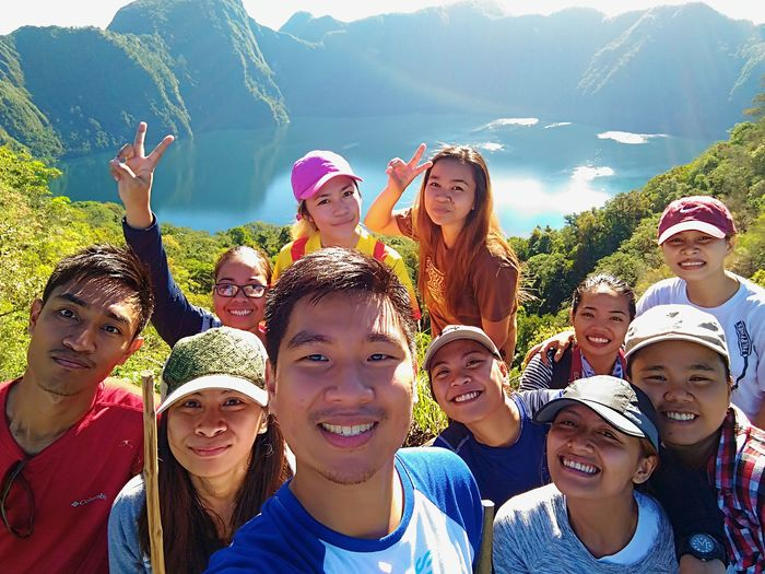 Enjoy The New Normal Friendship Fun Cheerful Outdoors Happiness Lifestyles Celebration Summer Vacations Large Group Of People Portrait Togetherness Trekking With Friends Adventure Philippine Sceneries Amazing Lake Holon