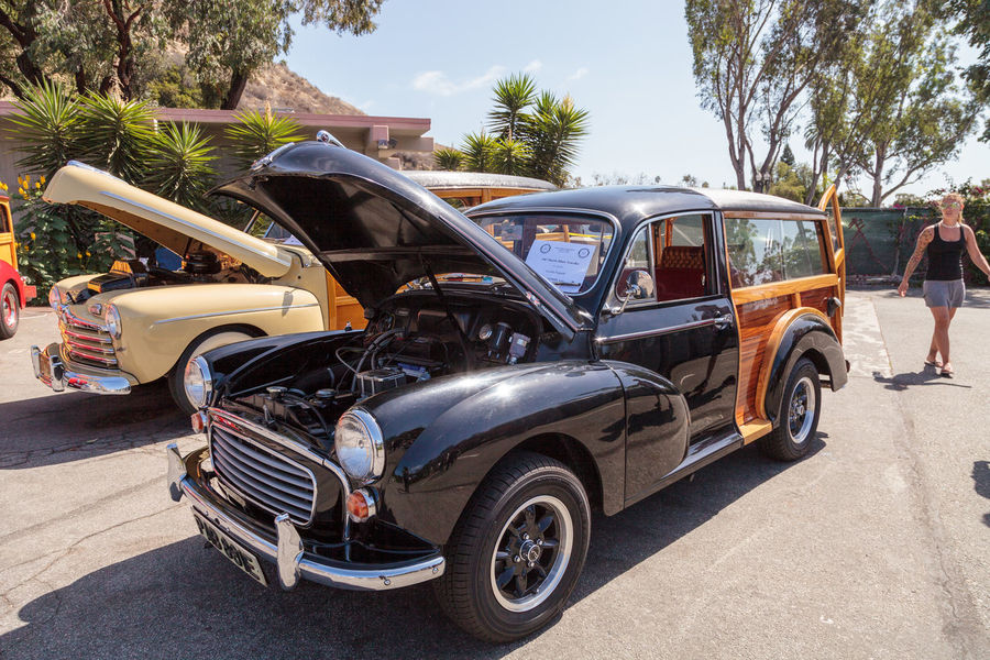 Laguna Beach, CA, USA - October 2, 2016: Black 1967 Morris Minor Traveller woody owned by Cecilia Frigarde and displayed at the Rotary Club of Laguna Beach 2016 Classic Car Show. Editorial use. 1967 Automobile Car Show Classic Car Day Laguna Beach Morris Minor Morris Minor Traveller No People Old Car Vintage Car Woodie Woody