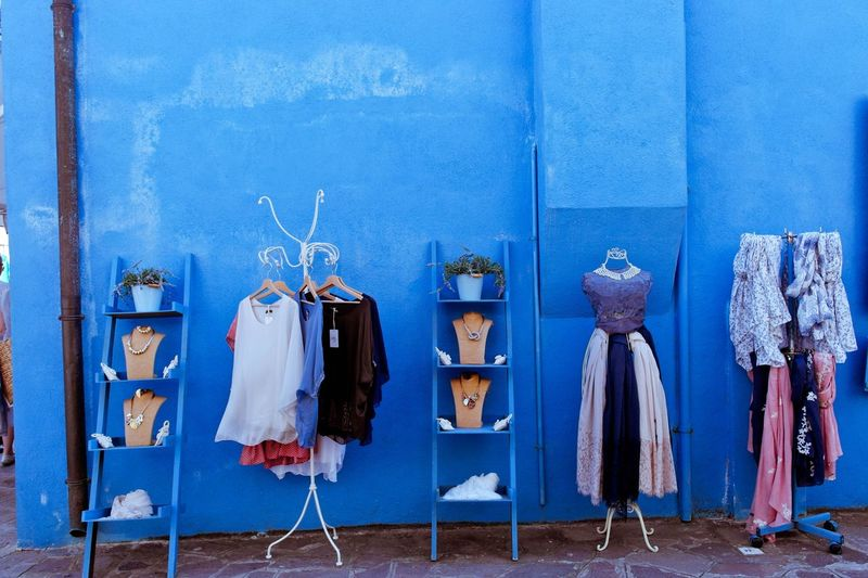 Blue Burano Island Clothes Day Hanging Italy🇮🇹 Outdoors Outside Shopping Street Shop