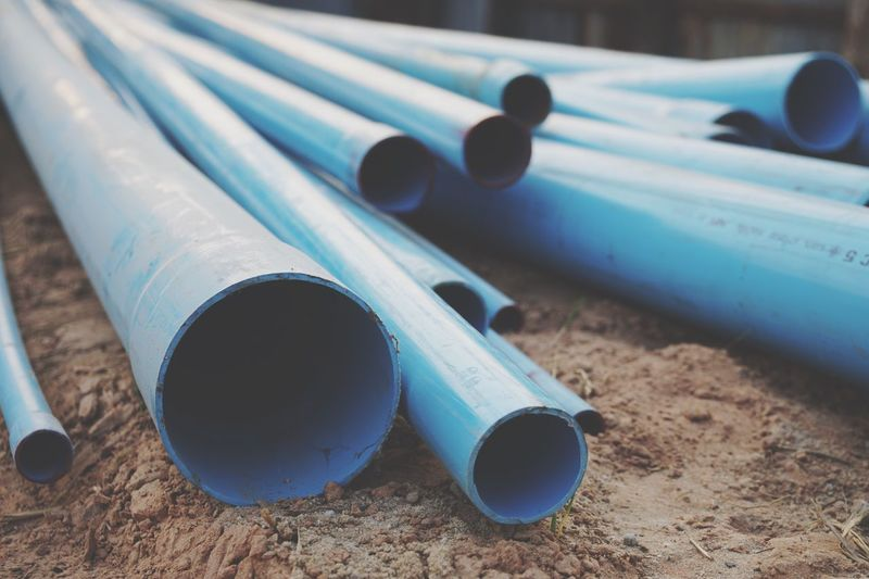 Close-up of pipes at construction site