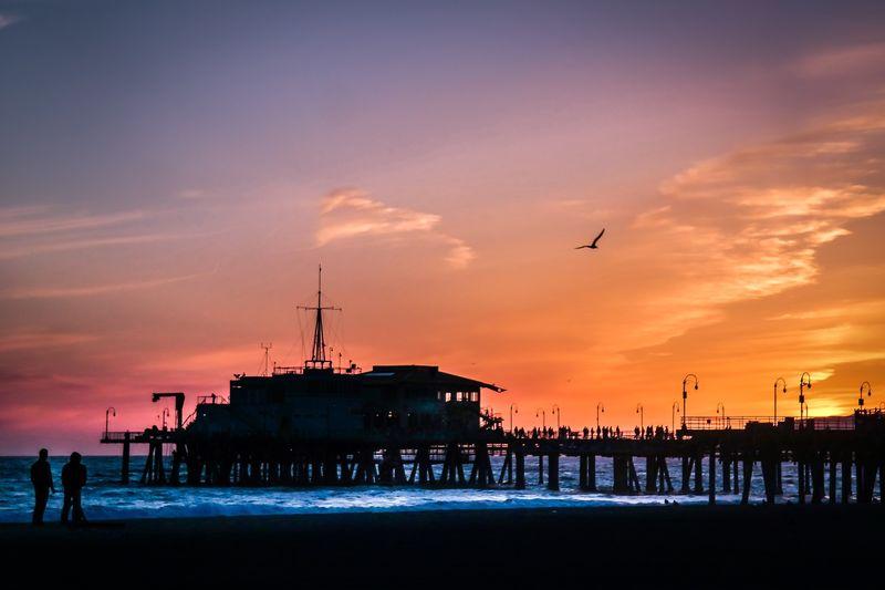 Santa Monica Pier Over Sea During Sunset