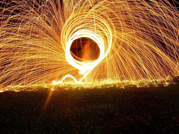 Illuminated Wire Wool Display At Night