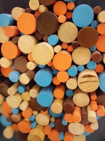 Blue Multi Colored Large Group Of Objects No People Close-up Freshness Outdoors Day Wood Design Wall Art Philippines Circles Shapes Pattern Orange Yellow Maximum Closeness