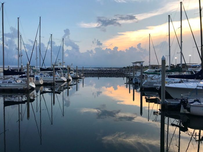 Water Reflection Sky Nautical Vessel Cloud - Sky Sunset Moored Pole Mast Sailboat No People Tranquility Scenics - Nature Harbor Marina Tranquil Scene Transportation