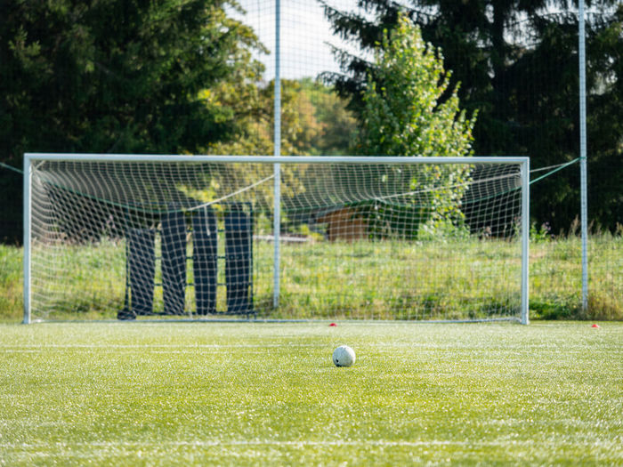 Soccer ball on field against plants