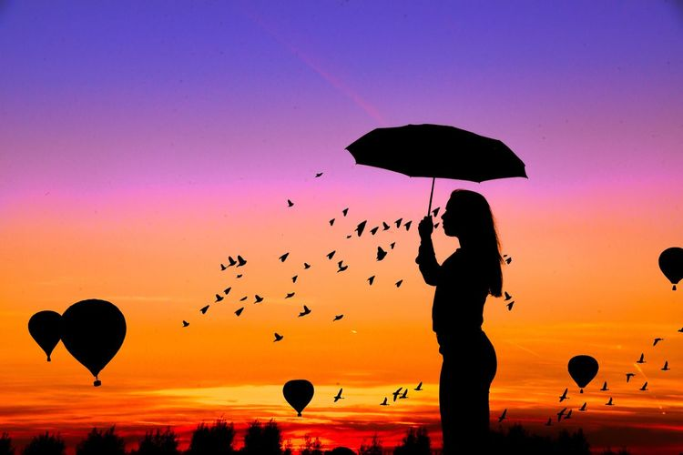 Silhouette Woman With Umbrella Standing Against Sky During Sunset