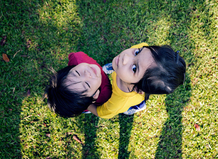 High angle view of two children