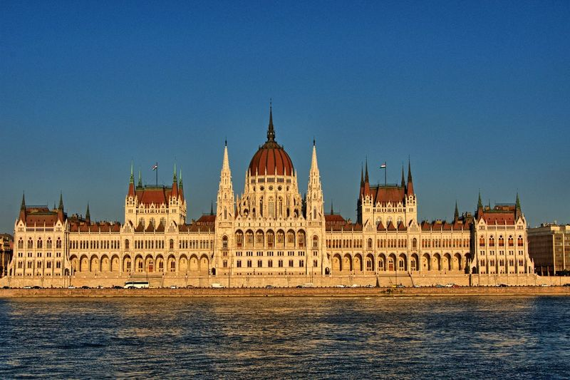 Hungarian parliament against clear sky