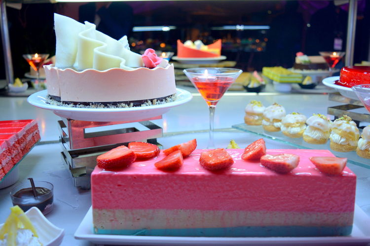 View of cake on table