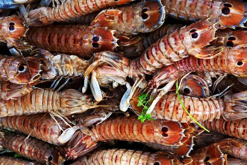 Full Frame Shot Of Shrimps For Sale At Market