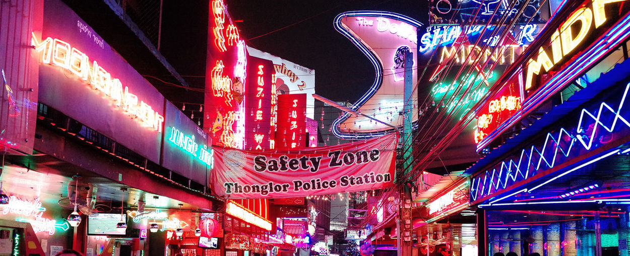 Architectural Column Architecture Bangkok Thailand. Building Built Structure City City Life Illuminated Information Information Sign Low Angle View Neon Sign Night Night Photo Nightlife No People Outdoors Red District Text Thailand Thong Lor Travel Destinations