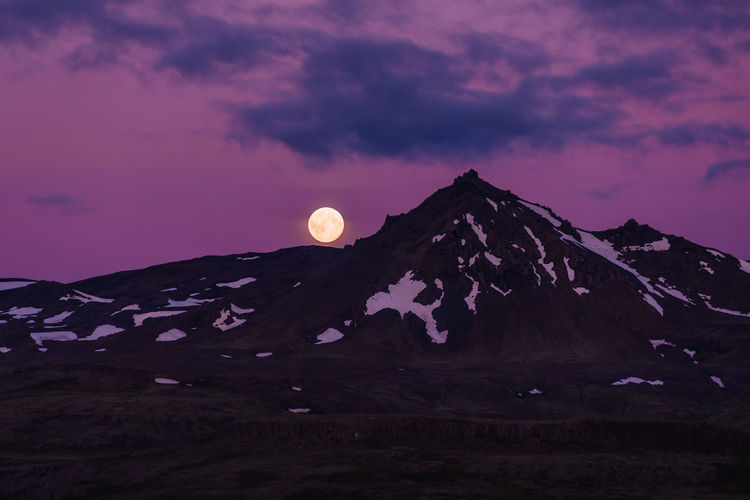 Full Moon in Snaefelllsness Peninsula Dark Full Moon Horror Iceland Snaefellsnes Peninsula Beauty In Nature Cloud - Sky Environment Land Landscape Moody Moon Mountain Mountain Peak Nature Night No People Non-urban Scene Physical Geography Purple Scenics - Nature Sky Snowcapped Mountain