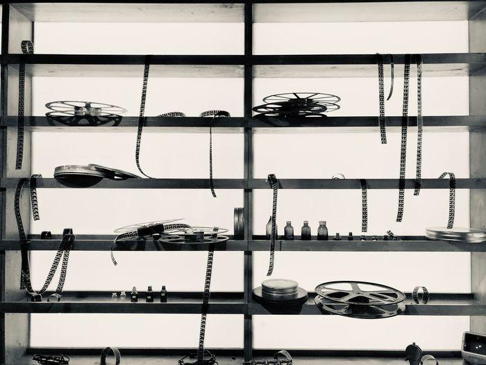 Photographic equipment on rack