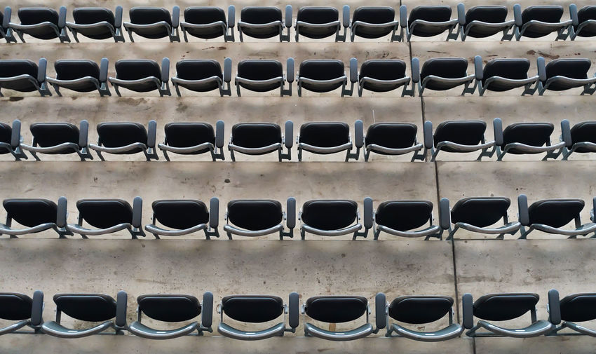 Full frame shot of bleachers at stadium