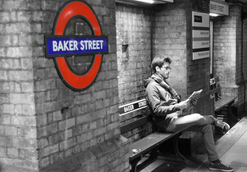 Bakerstreet London Man Reading Newspaper One Man Only Tube Metro Station Only Men Adults Only Sitting Men Brick Wall EyeEmNewHere
