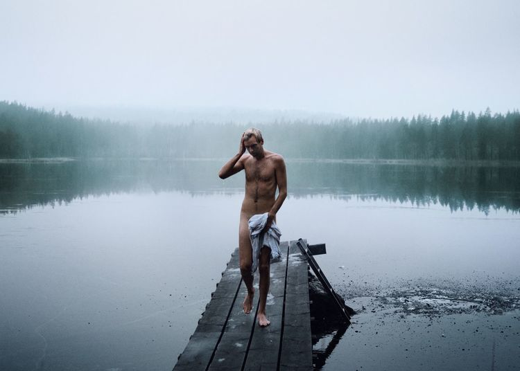 Winter dip! Skinny Dipping Cold Swimming BestofEyeEm Eyeemmarket Woods Winter Ice Hole Ice Water Lake One Person Full Length Standing Day Real People Nature Beauty In Nature Men Shirtless Scenics - Nature Lifestyles Outdoors Reflection Nakedmen
