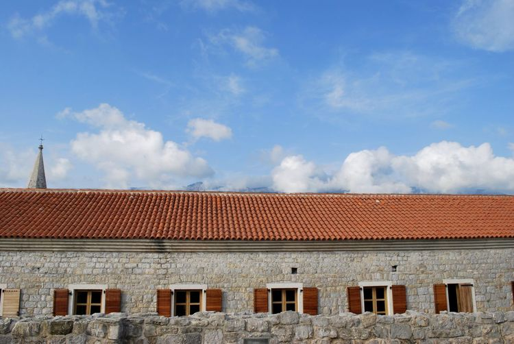 Architecture Budva Old Town Building Exterior Built Structure Citadella Clouds And Sky Outdoors Roof Sky Windows Focus On The Story