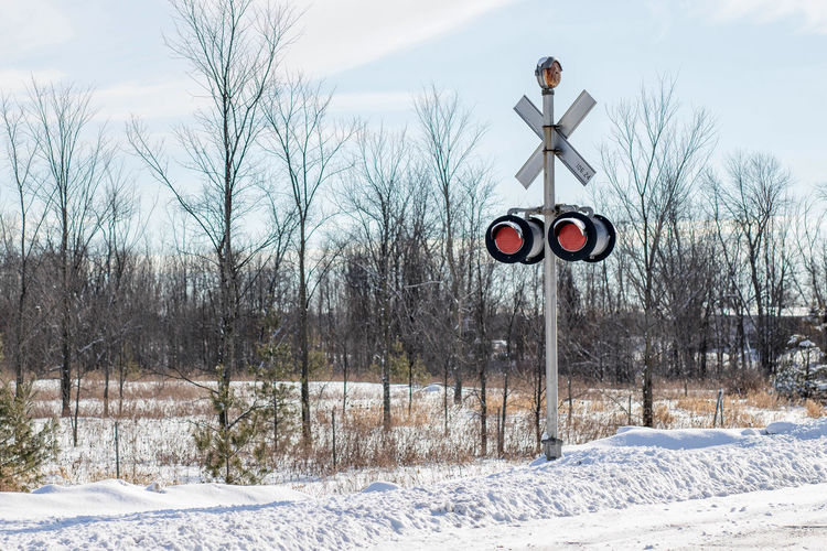 Cold Cold Temperature Railroad Railroad Crossing Railroad Crossing Sign Railroad Signs Road Road Signal Street The Way Forward Weather Winter