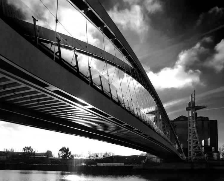 Salford Quays Architecture Bridge Bridge - Man Made Structure Built Structure City City Life Cloud - Sky Connection Engineering Low Angle View Manchester Modern Salford Salford Quays Sky Water The City Light