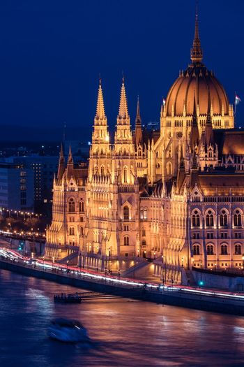 Eye Opener Parliament Building Budapest Hungary Building Exterior Architecture Built Structure Illuminated Water Travel Destinations City Night Tourism Travel Building Waterfront Government Cityscape River