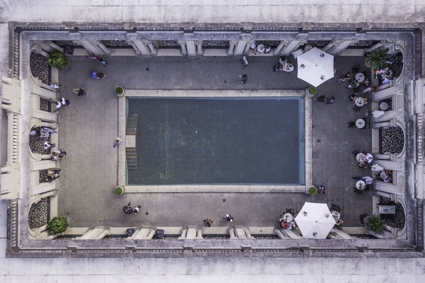 Be. Ready. Architecture Blue Building Day People Restaurant Swimming Pool