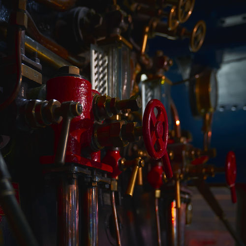 Knobs and valves on machine