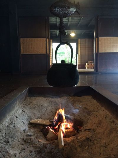 Break Breaktime Burning Fire Fire Pit Flame Glowing Heat - Temperature Illuminated Indoor Fire Japan Japan Tea Japanese Culture Japanese Traditional Kettle Lit Magome Nakasendo Highway Tea Tea Time Travel Destinations Traveling Travelling Tsumago Wood Fire