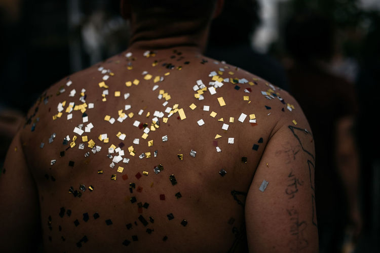 Back Man Close-up Confetti Day Festival Focus On Foreground Freshness Indoors  One Person Party People Real People Topless,