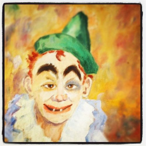 #kunterbunt Drunk Hideyowife NY Hideyokids Clown Gross Westside Hat Scary Manhattan Newyork NYC BlackEye Newyorkcity Art Eyebrows Teeth Ginger Green Kunterbunt Creepy Painting Rustyknot
