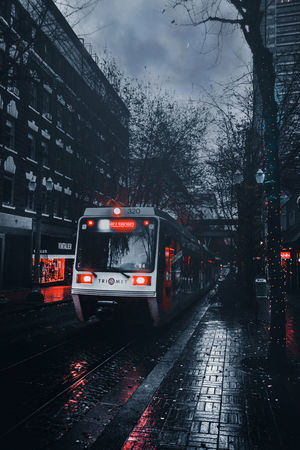Wet Rain Weather Extreme Weather No People Sky Night Getty Images EyeEm Gallery EyeEm Best Edits EyeEm Best Shots EyeEm Masterclass Oregon Love Reflection Epic Architecture City Built Structure Cityscape Vignette Fresh on Market 2017 Building Exterior Streetcar