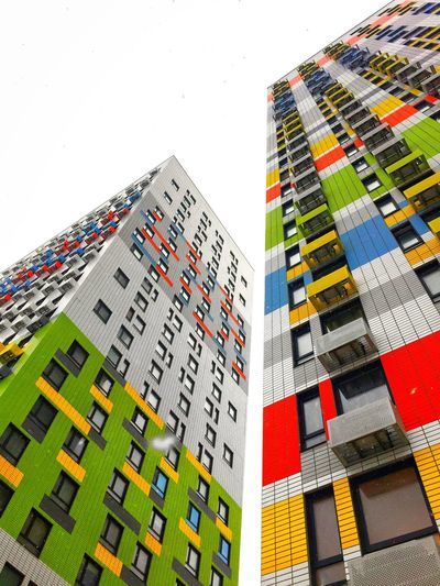 Built Structure Multi Colored Building Exterior Architecture No People Pattern Building Creativity Outdoors Low Angle View Art And Craft Nature Day Residential District Decoration Wall - Building Feature Modern Design Digital Composite Sky