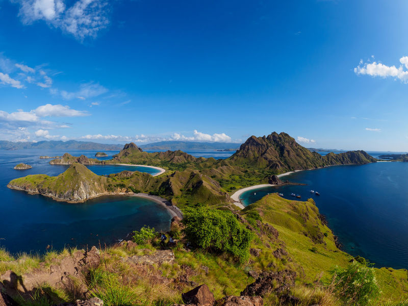 Padar Island, Indonesia Beauty In Nature Blue Cloud - Sky Day Environment Idyllic Lagoon Land Landscape Mountain Nature No People Non-urban Scene Outdoors Padar Island Plant Scenics - Nature Sea Sky Tranquil Scene Tranquility Volcanic Crater Water