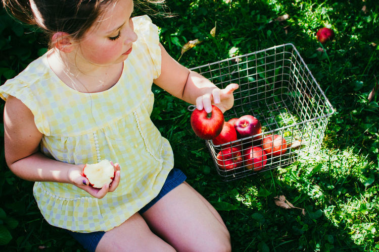 Apple Apple - Fruit Basket Casual Clothing Child Childhood Container Females Food Food And Drink Freshness Fruit Fruits Girls Healthy Eating Holding Innocence Lifestyles One Person Outdoors Real People Wellbeing Women