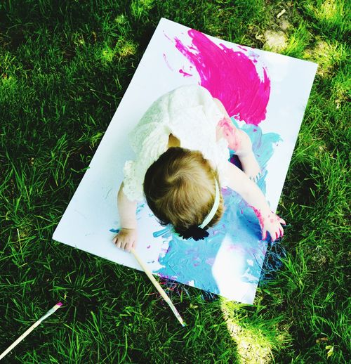High angle view of girl standing over painting on grass