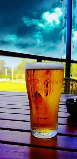 Drinking Glass Drink Glass Refreshment Cold Temperature Freshness Table No People Sky Cloud - Sky Alcohol Beer On Tap