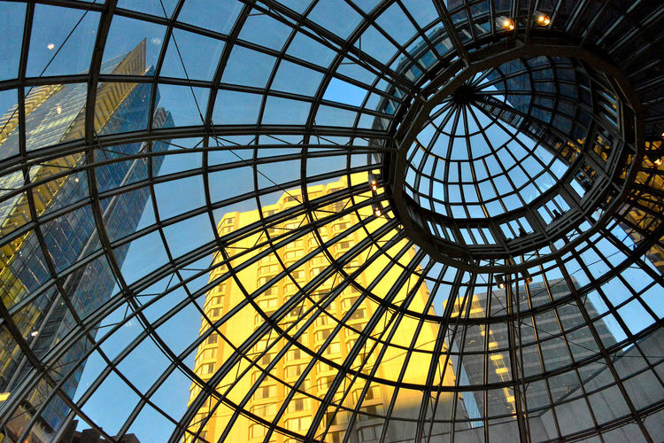 Pacific Centre Mall at Vancouver - oct 2013 Vancouver Alloy Architecture Building Built Structure Ceiling Cupola Day Directly Below Dome Full Frame Geometric Shape Glass - Material Indoors  Low Angle View Mall Modern Nature No People Pattern Sky Skylight Steel Sunlight