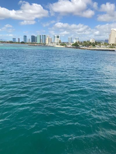 Hawaii Honolulu  Waikiki Tropical Climate Tropical Skyline Skyscraper Island Deep Blue Turquoise Colored Copy Space Architecture No People Waterfront Beach Palm Tree Landscape Urban Skyline Cityscape Financial District  Building Sky Outdoors Coastline Downtown