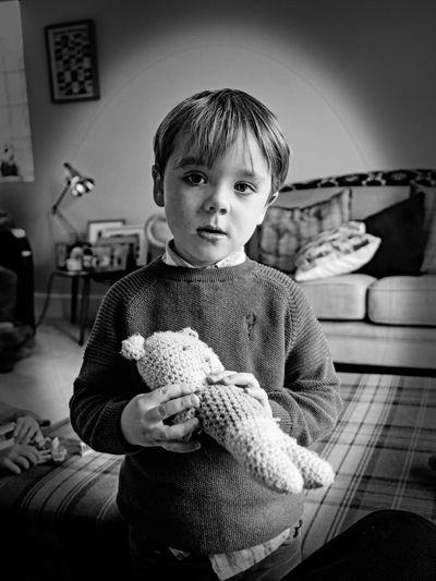 Teddy Childhood Child One Person Indoors  Front View Holding Casual Clothing Portrait Males  Men Cute Toy Sitting Innocence Looking At Camera Home Interior Three Quarter Length Furniture Teddy Bear