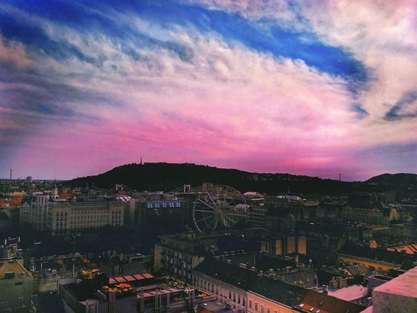 Wonderful sky of sunny Hungary Polishgirl Instagirl Like4like C4c Colour Your Horizn Cloud - Sky Sky Sunset High Angle View Outdoors No People Pink Color City Cityscape Illuminated