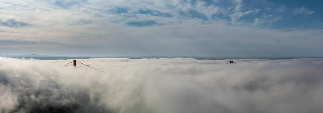 Her Majesty in Fog Fog GoldenGateBridge Horizon Over Land Ocean Outdoors Power In Nature Sanfrancisco Weather