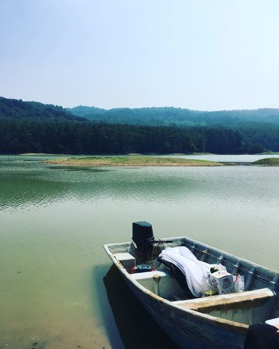 Water Lake Tranquility Nature Outdoors Day No People Transportation Scenics Mountain Nautical Vessel Moored Beauty In Nature Sky