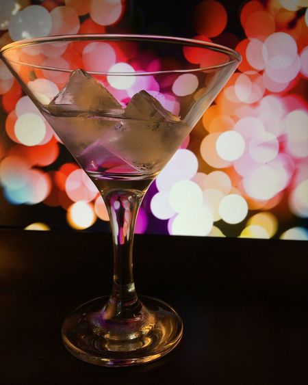 Colorful Creativity Focus On Foreground Freshness Glass - Material Ice Illuminated Martini Glass Multi Colored No People Pink Color Surface Level