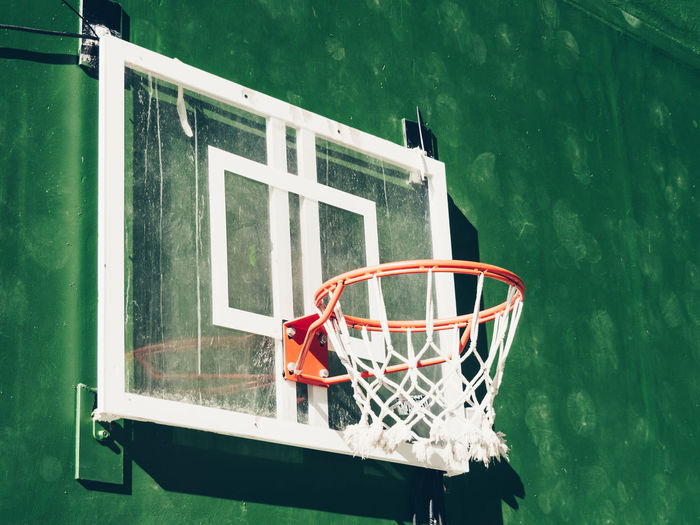 Close-up of basketball hoop on wall