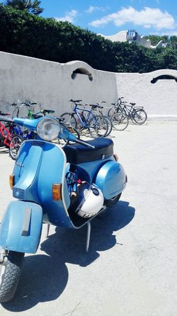 Vespa Bysicle White Outdoor Photography Green Transportation Near The Sea Way To The Beach San Felice Circeo Italy Italian Style Architecture No Edit Blue