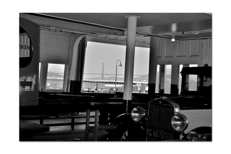 Antique Vehicles On-board Eureka 8 Ferryboat Docked Hyde Street Pier San Francisco CA🇺🇸 Side-wheel Paddle Steamboat Wooden-hulled Built 1890 Originally Named Ukiah 1890-1922 Retrofitted 1922 & Renamed Eureka Vintage Monochrome_Photography Monochrome Black & White Black & White Photography Black And White Black And White Collection  Passenger Ferry Carried 2300 People & 120 Auto Hauled Railroad Freight Cars At Night Certified To Carry 3500 People In Serice To 1958 San Francisco Maritime National Historic Park Golden Gate Bridge Viewed From Eureka National Register Of Historic Places 73000229