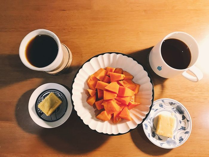 Coffee - Drink Coffee Cup Directly Above Food And Drink Table Refreshment Drink Wood - Material Indoors  Freshness Food No People Sweet Food Ready-to-eat Day Papaya Night Nightphotography Home