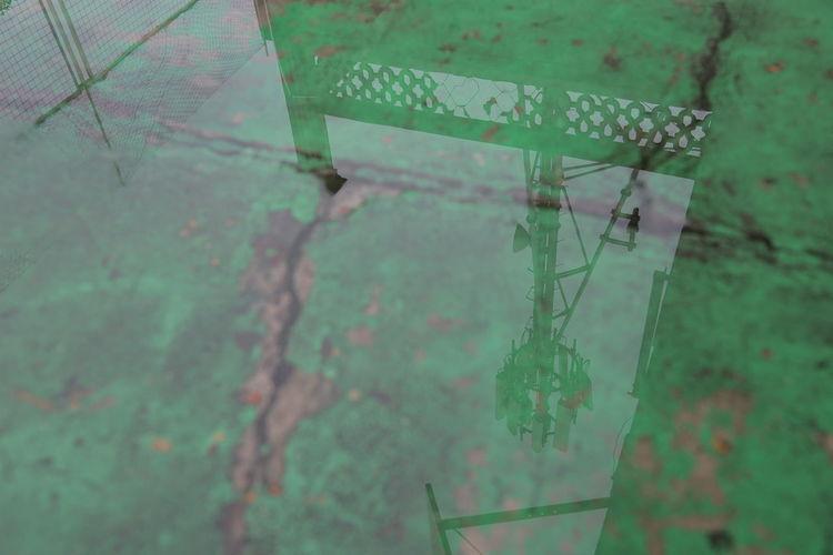 High angle view of abandoned window