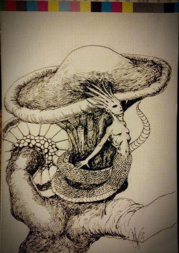Ink Sketch Slither spike; tiny shroom tree serpent. Art Drawing Fantasy Serpent Concept Art Strange Creatures Strange Being