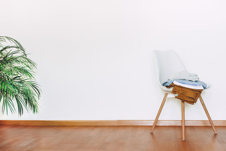 View of an empty chair on table at home